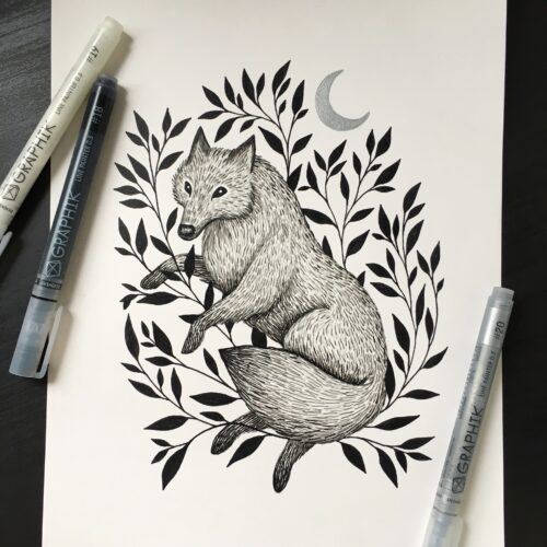 Wolf and Moon